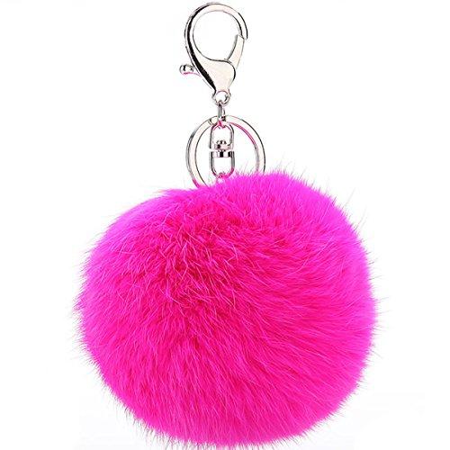 Puff Ball Pom Pom Keychain Fur Ball Keyring Cityelf Fluffy Accessories Car Bag Charm(Rose)]()