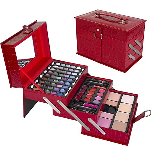 Professional Leather Train Case with Mirror Makeup Kit (Eyeshadow, Blushes, Powder, Lipstick & More) makeup kits for women By Miry Cosmetics