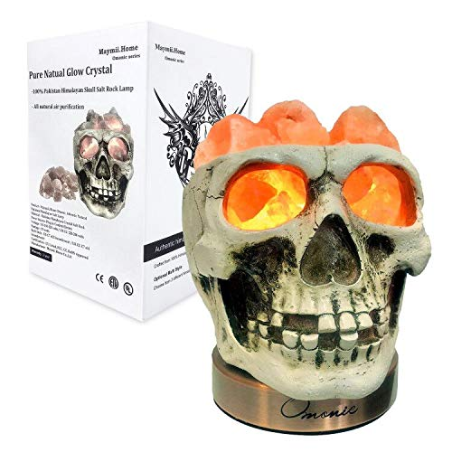 ویکالا · خرید  اصل اورجینال · خرید از آمازون · Omonic Himalayan Salt Lamp Lights, 3D White Gray Grey Tatoo Halloween Skull Carved Statue Lamp Night Light with Himalayan Pink White Salt Chunks, Dimmer Switch Control with 1 Salt Candle Holder wekala · ویکالا