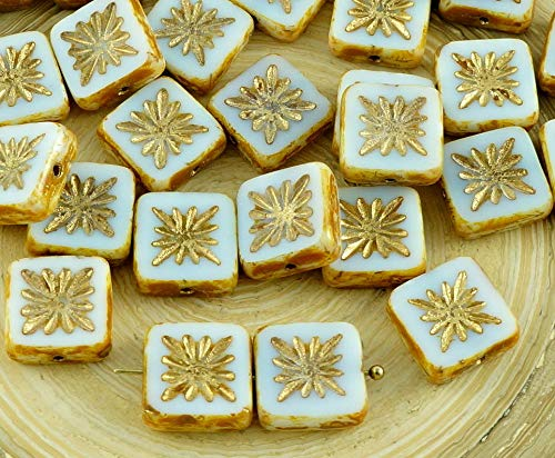 8pcs Picasso Brown White Gold Wash Rustic Window Table Cut Flat Flower Square Czech Glass Beads 10mm
