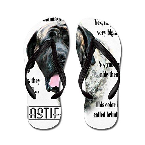 Cafepress Mastiff (gestroomd) Faq - Flip Flops, Grappige String Sandalen, Strand Sandalen Zwart