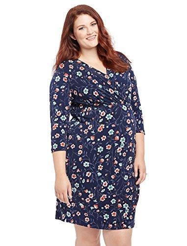 Motherhood Plus Size Floral Print Faux Wrap Maternity (Maternity Spandex Wrap)