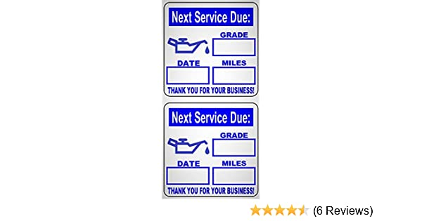 Blue Hybsk Clear Oil Change//Service Reminder Stickers 2x2 Premium Quality Oil Change Stickers 200 Labels on a Roll