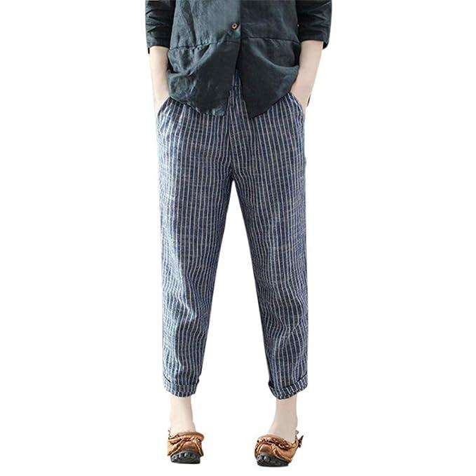 Logobeing Pantalones Anchos Casual Tallas Grandes Lino de algodón A Rayas Pantalón Moda Casual Slim Pantalones
