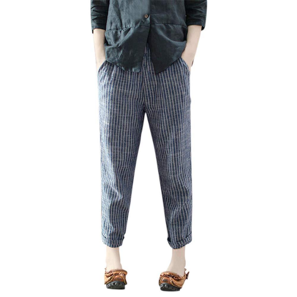 Farjing Pants Clearance Sale Women Casual Plus Size Cotton Linen Striped Ankle-Length Wide Leg Pants Trousers(S,Blue