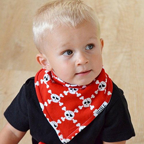 Stadela Baby Adjustable Bandana Drool Bibs for Drooling and Teething Nursery Burp Cloths 4 Pack Baby Shower Gift Set for Boys – Pirate Adventure with Treasure Map Skull Anchors Boat Ahoy Stripes by STADELA (Image #1)