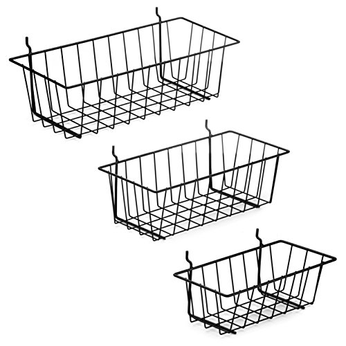Garage Storage Workbench (Pegboard Basket Set - 3 Pack - Hooks to 1/4