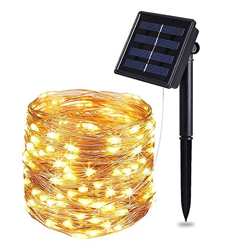 Solar String, Indoor/Outdoor Waterproof 33ft 100LED Copper Wire,String,Decorative Ornaments For Gardens, Dancing, Party Christmas(Warm White)