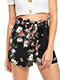 Romwe Women's Casual Elastic Waist Floral Print Loose Summer Walking Shorts Black XL
