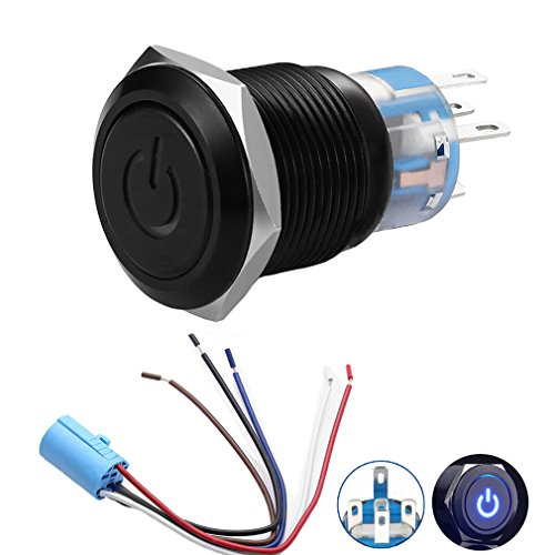 "Quentacy 19mm 3/4"" Metal Latching Pushbutton Switch 12V Power Symbol LED 1NO1NC SPDT ON/OFF Black Waterproof Toggle Switch with Wire Socket Plug (Blue)"
