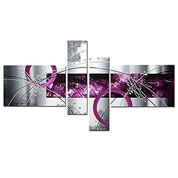 H.COZY 4pcs moderne abstrakte Grau Silber Linien Lila Ölgemälde ...