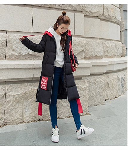 Hood Long TT Jacket Black Casual Jacket Lady Riding down Wild Little Students Coat Stitching Red Winter 77rFnHU8