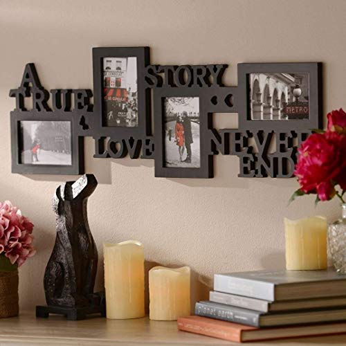 A True Love Story Never Ends 4 Picture Collage Photo Frame, 4x6-Inch, Black -