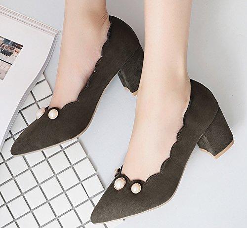 Easemax Femme Mode Chaussure Pointue Fermeture à Enfiler Escarpins Vert 4oU7VKPP7