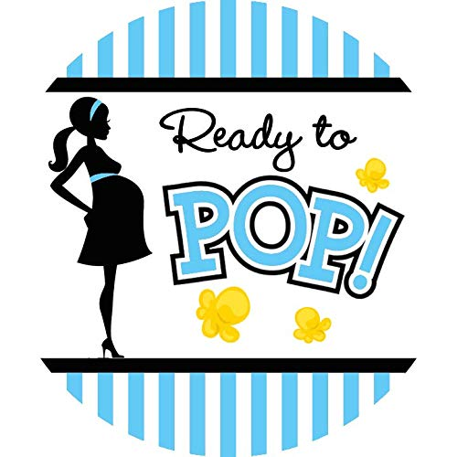 Classic Ready to Pop Stickers | Ready To Pop Baby Shower Stickers for Popcorn | Ready to Pop Stickers for a Girl or boy (Blue, 2.0