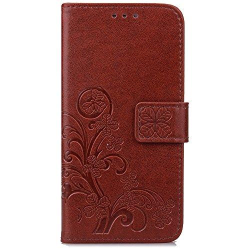 YAJIE-Carcasa Funda Para Huawei P9 Plus, [Relieve Lucky Flower Four-Leaf Clover] Funda de cuero de la PU [Soporte / Ranura para tarjeta] Con correa de muñeca Funda de cuero con tapa ( Color : Purple , Brown
