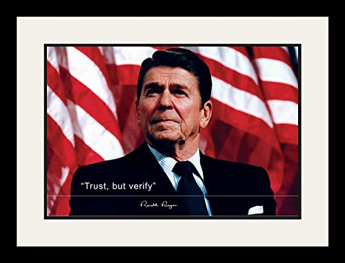Trust Poster - WeSellPhotos Ronald Reagan Poster Photo Picture Framed Quote Trust, but verify US President Portrait Famous Inspirational Quotes Motivational Posters (19x25 Framed)