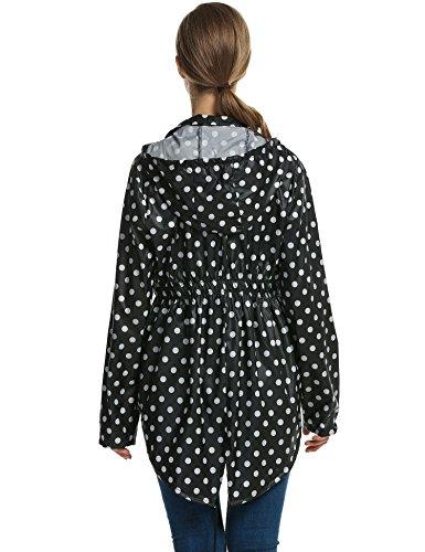 femme Multicolore Blanc femmes de Parka et idale impermable Veste meaneor pluie impermable pour Mac Festival Noir SAqPq