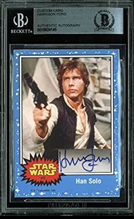 Harrison Ford Star Wars Authentic Signed Custom Card Autographed BAS Slabbed