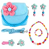 CMK TRENDY KIDS Kids Plush Flower Handbag Set with Hair Clip + Necklace + Bracelet + Earrings + Ring Small Purse for Little Girls and Toddlers (82000_Blue)