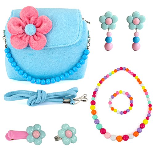 CMK TRENDY KIDS Kids Plush Flower Handbag Set with Hair Clip + Necklace + Bracelet + Earrings + Ring Small Purse for Little Girls and Toddlers (82000_Blue)]()