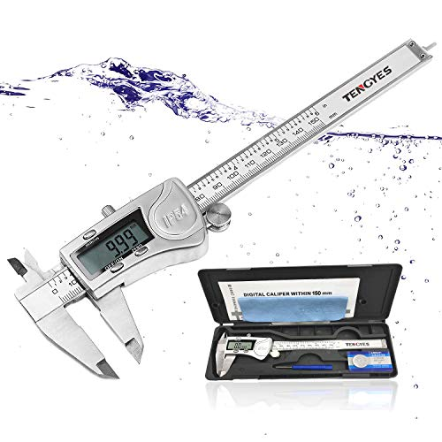 Micrometer Gauge Caliper (Digital Caliper Micrometer Measuring Tool - 6 inch Stainless Steel Electronic Vernier Calipers, IP54 Waterproof Accurate Gauge with LCD Screen Inch Fractions Millimeter Conversion by TENGYES)