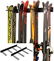 StoreYourBoard Ski Wall Storage Rack, 2 Pack Holds 16 Pairs, Steel Home and Garage Skis Mount