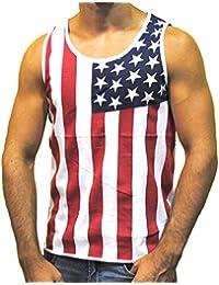 Men's American Flag Stripes And Stars Tank Top Shirt