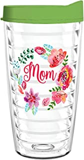 product image for Smile Drinkware USA-Mom Floral Wreath 16oz Insulated Tritan Tumbler with Lid and Straw