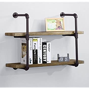 ou0026k furniture 2tiers rustic pipe shelving industrial style wall shelf with brown metal