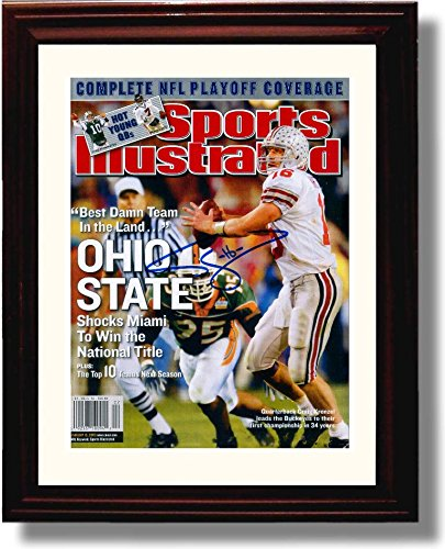 "Framed Ohio State 2002 National Champions Craig Krenzel ""Best Damn Team in the Land"" Sports Illustrated Autograph Replica Print"