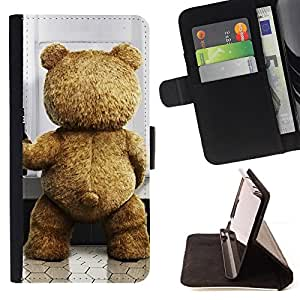 Funny Cute Teddy Bear - Painting Art Smile Face Style Design PU Leather Flip Stand Case Cover FOR Samsung Galaxy Core Prime @ The Smurfs