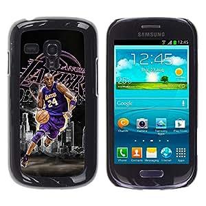 BasketCase Kbe Bryant Basketball Samsung Galaxy S3 MINI NOT REGULAR! I8190 I8190N / / Prima Delgada SLIM Casa Carcasa Funda Case Bandera Cover Armor Shell