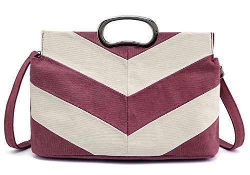 Canvas Shoulder Bag Retro Casual Handbags Messenger Bags (Wine Red) by PlasMaller