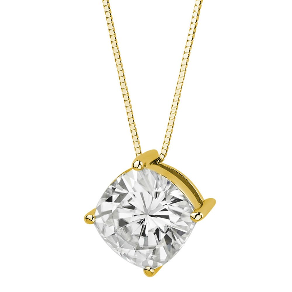Forever Brilliant Cushion Cut 9.0mm Moissanite Pendant Necklace, 3.30ct DEW By Charles & Colvard