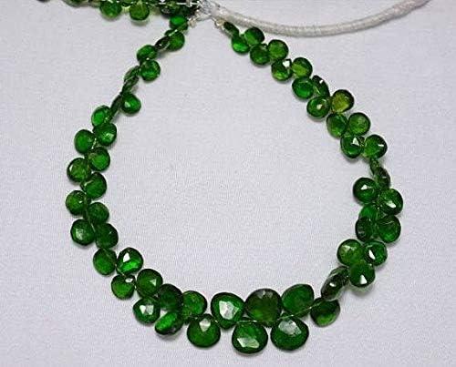 Beads Gemstone Green Tourmaline Heart Shape Beads, 4.5mm - 8.5mm Tourmaline Gem Stone, Faceted Heart Beads, Gemstone for Jewelry, 4 Inches Strand Code-HIGH-24392