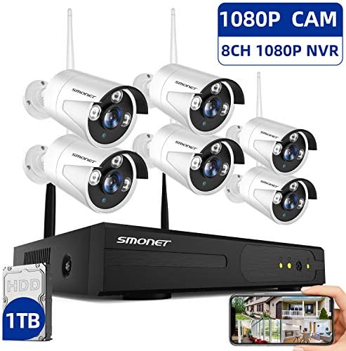2020 SMONET 1080P Security Camera System Wireless,8-Channel HD H.264 Wireless NVR System 1TB Hard Drive ,6pcs 1080P 2.0 Megapixel Outdoor Indoor Wireless Security Cameras,Plug Plug,Free APP