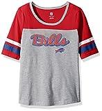 "NFL Girls 7-16 ""Fan-Tastic"" Short Sleeve Tee-Heather Grey-L(14), Buffalo Bills"
