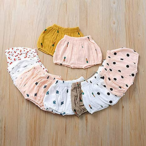 Menglo Unisex Baby Girls Boys Cotton Linen Blend Cute Bloomer Shorts Cartoon Carrot Loose Harem Shorts