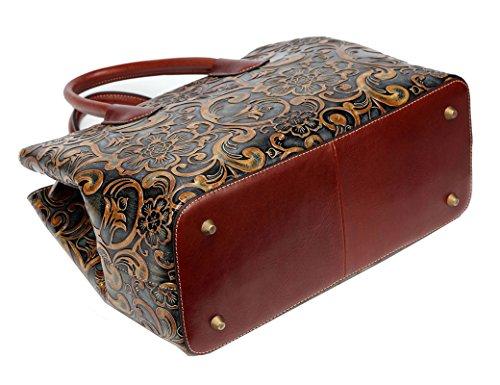 Jair Retro Floral Embossed Genuine Leather Crossbody Tote Bags Handbags for Women (Bronze New) by Jair (Image #3)
