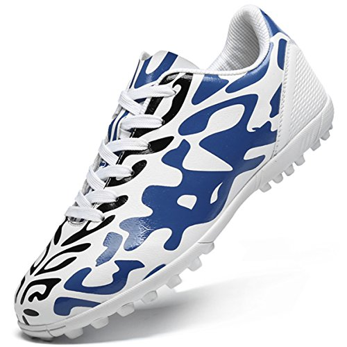 Barerun Men's Women's Boys Turf Cleats Soccer Athletic Football Outdoor/Indoor Sports Shoes White 5.5 (B) M US (Shoes Soccer Outdoor Turf)