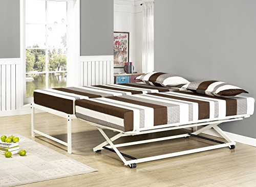 Kings Brand Furniture Twin Size White Metal Platform Bed