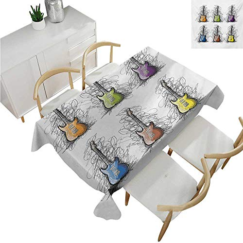 familytaste Music,Fitted tablecloths,Sketchy Lines Colored Design Guitar Insrument Collage Teens Rocker Song Lovers Image,Tablecloths for Sale 60