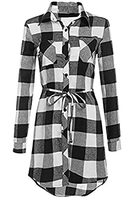 Jaycargogo Women's Long Sleeve Button Down Belted Plaid Shirt Dress