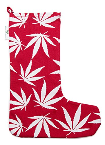 Marijuana Leaf Christmas Stocking (Red) by Royal Highness