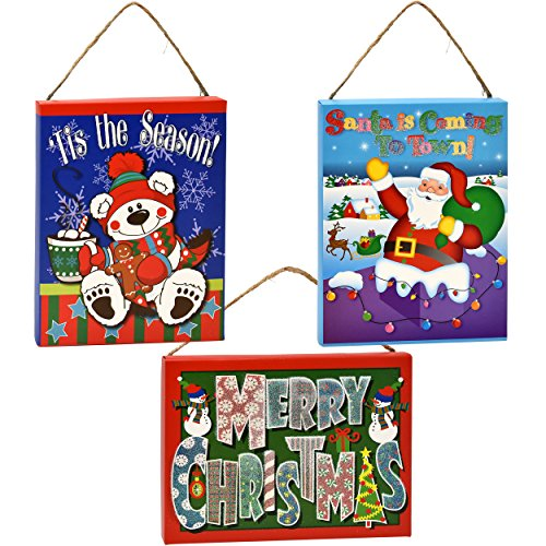 Workshop Santa Christmas Tree Decoration (3 Christmas Signs Christmas Wall Decorations Santa and Snowman Decorations Indoor Props Wall Décor Banners Winter Wonderland Office Christmas Party Decorations Holiday Cubicle Home Decor for Kids Room)