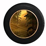 Full Color Deer Drinking from a Stream, Light Passes Through the Trees Jeep RV Camper Spare Tire Cover Black 35 in