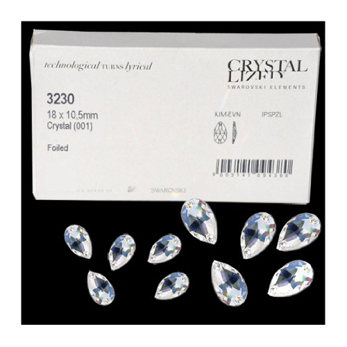 Swarovski Sew On (3230) 18 x 10.5mm Pear Shape ~ Crystal Clear ~ Flat Back ~ 1 Each (Sew On Crystals Swarovski)