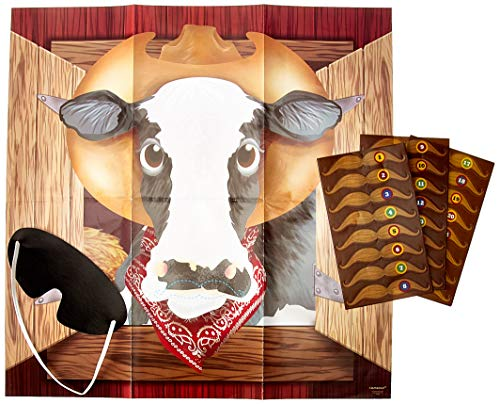 """Amscan 270249 Pin The Moustache On The Cow Game, 17"""" x 17"""", Multicolor"""