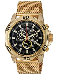 Joshua & Sons JX123YGB Men's Swiss Quartz Metal and Alloy Automatic Watch, Gold-Toned